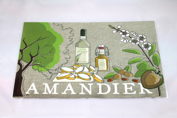 "Way linen placemat illustrated and plastified ""Almond"""
