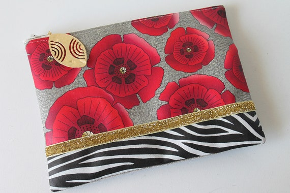 "Illustrated natural linen pouch ""Zebra poppies"""