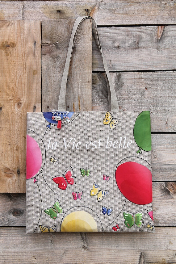 "Linen tote bag with natural illustrated ""Life is beautiful"""