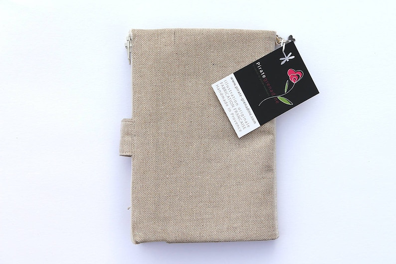 Bag organizer with checkbook holder integrated in natural linen Au p/'tit bonheur le chance
