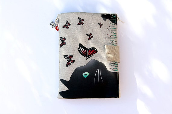 "Bag Organizer / multipoches illustrated natural linen ""cat and butterflies"""