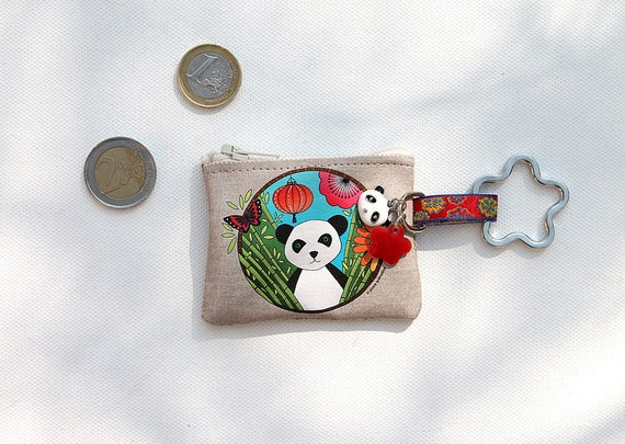 "Keychain - mini wallet linen illustrated ""panda"""