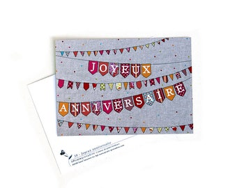 """Postcard """"happy birthday"""" card illustrated by squash Pirate"""