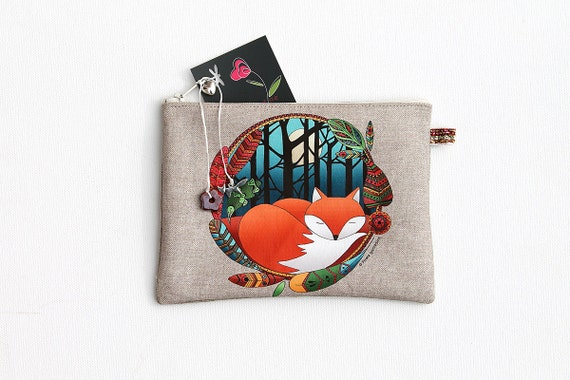 Illustrated natural linen totem Fox wallet