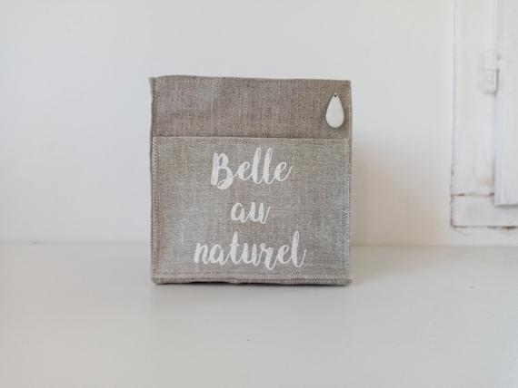 """Small square basket in natural linen """" Belle au naturel """""""