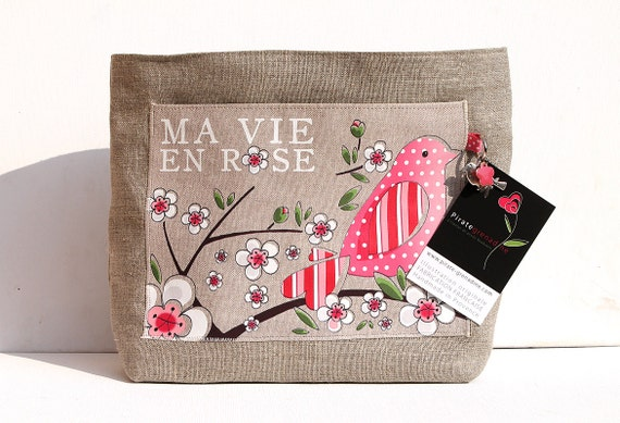 "Large natural linen bag organizer illustrated ""ma vie en rose"""