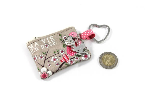 "Keychain - mini wallet with message ""my vie en rose"""