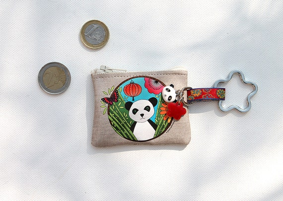 "Keyring / mini wallet linen illustrated ""panda"""