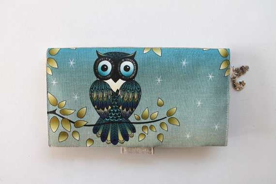 "Checkbook holder in linen "" Owl """