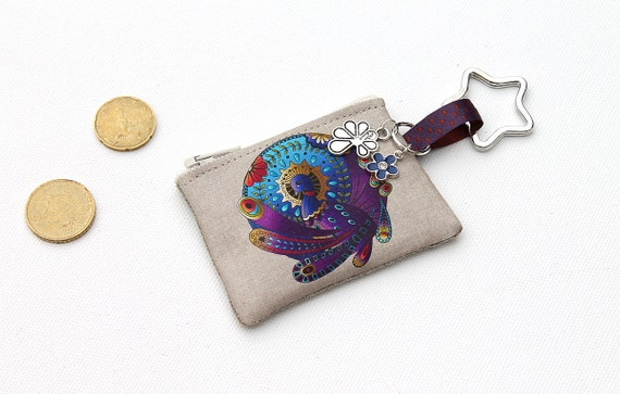 "Keychain/mini wallet in illustrated linen ""Totem animal: Peacock"""