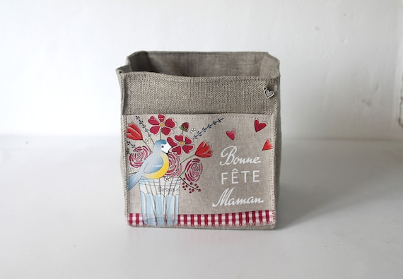 """Small square linen basket illustrated """"Happy Mother's Day"""""""