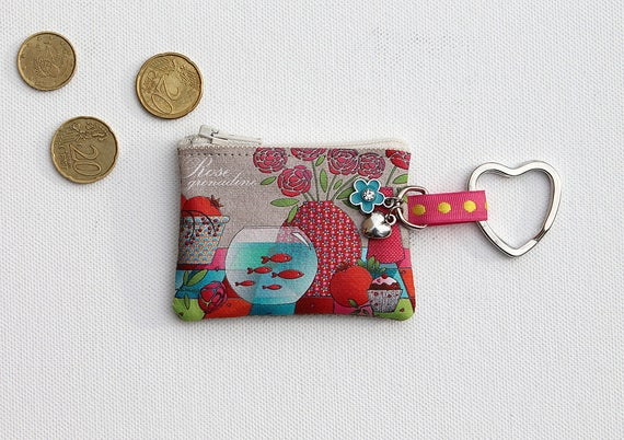 "Keychain - mini wallet linen illustrated ""Rose grenadine"""