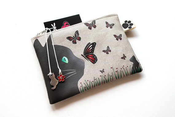 "Wallet in illustrated natural linen ""black cat and butterflies"""