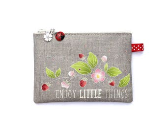 "Wallet in natural linen illustrated ""Enjoy little things"""