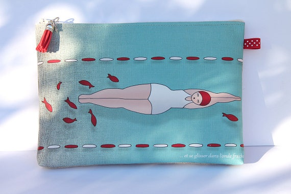 "Large illustrated ""bather and goldfish"" linen bag"