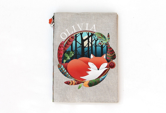 "Protects health in natural linen illustrated ""Fox totem"" book"