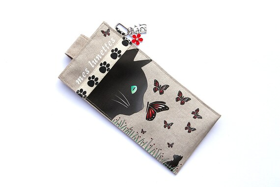 """Glasses in illustrious lin """"Cat and butterflies"""" case"""