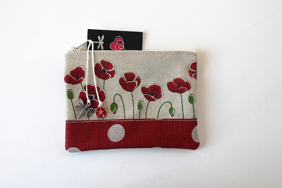 "Wallet shown natural linen ""I want poppies"""