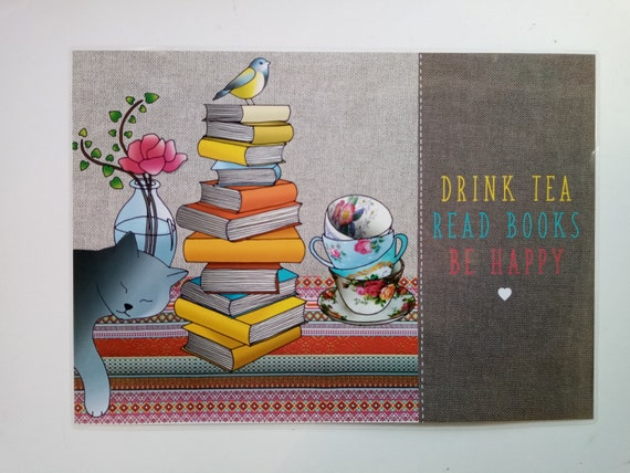 "Plastified cat placemat ""Read books, drink tea, be happy"""