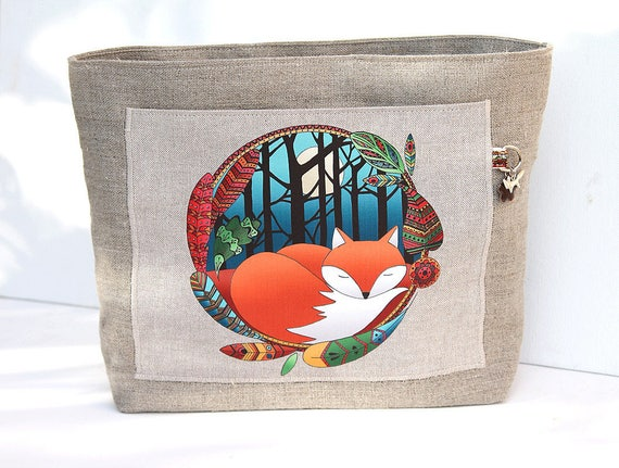 "Natural linen bag organizer illustrated "" little fox """