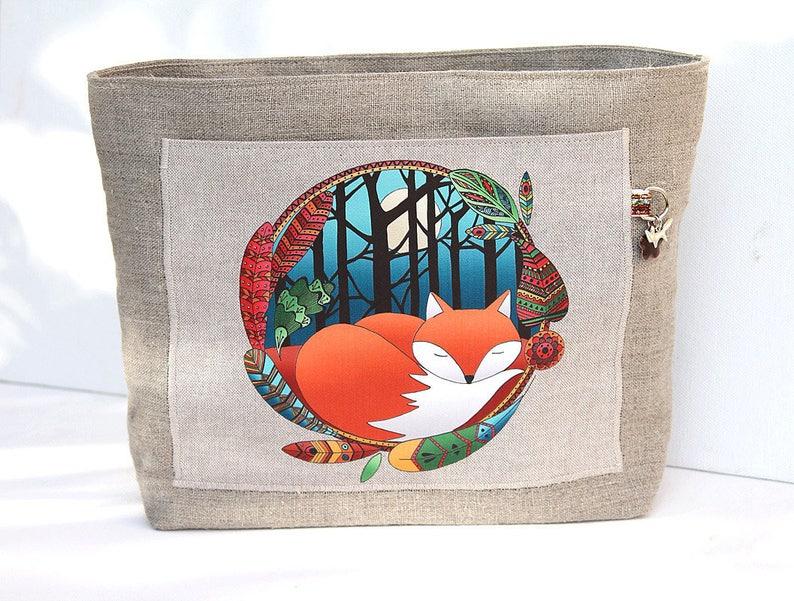 Natural linen bag organizer illustrated  little fox