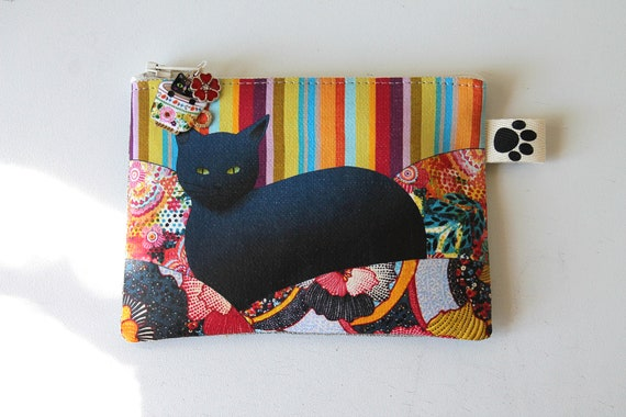 "Natural linen wallet illustrated ""black multicolored cat"""