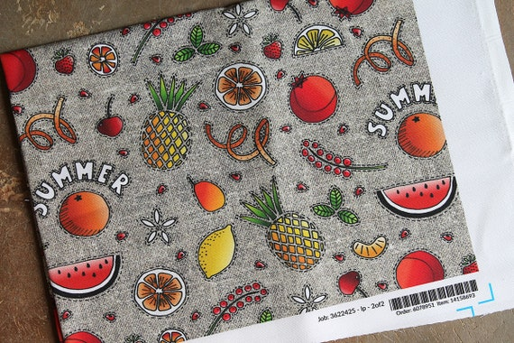 "Coupon fabric linen and cotton original pattern ""Summer fruits"""