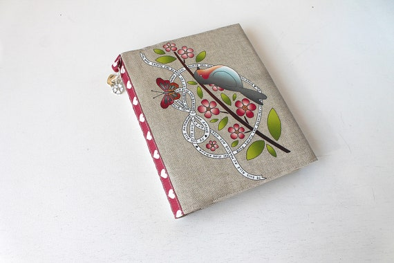 "Natural linen ""Red bra and flowers"" photo album"