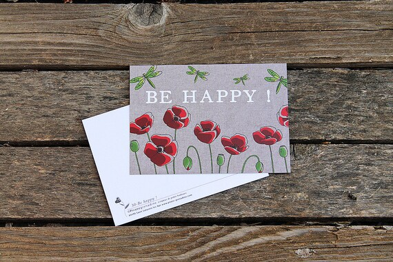 "Postcard illustrated poppies ""Be Happy!"" by squash Pirate"