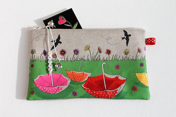 "Pencil case in natural linen with original illustration ""Finally the heyday"""
