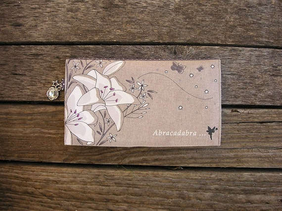 "Checkbook holder in natural linen "" Abracadabra """