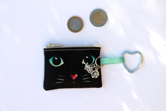 "Keyring / mini lin wallet illustrated ""in the eyes of my cat"""