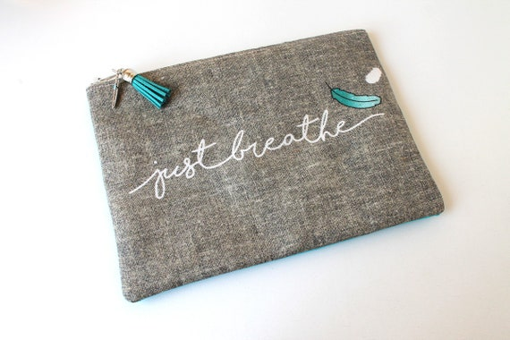 "Linen dress handkerchief ""Just breathe"""