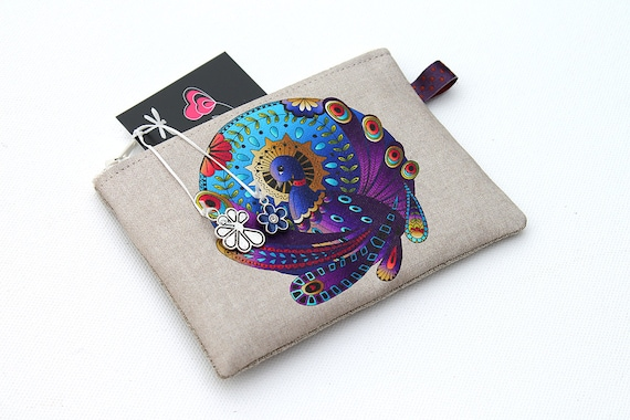 "Wallet in natural linen illustrated animal totem ""the Peacock"""