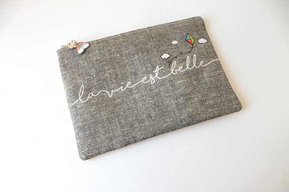 "Linen dress handkerchief ""life is beautiful"""