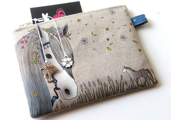 Illustrated natural linen 'Bohemian white horse' wallet