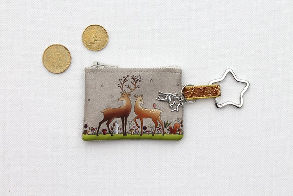 "key door / mini linen wallet illustrated ""the deer and the deer"""