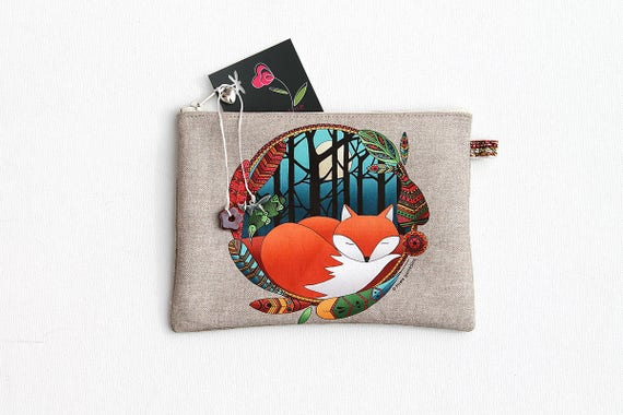 """Fox totem"" illustrated linen multipurpose Pocket"