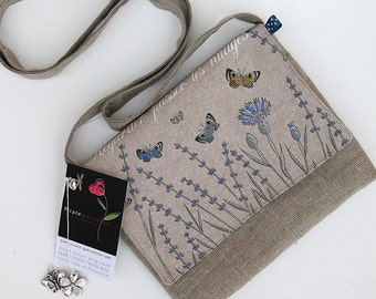 Pouch - bag in Lavender illustrated natural linen and butterflies