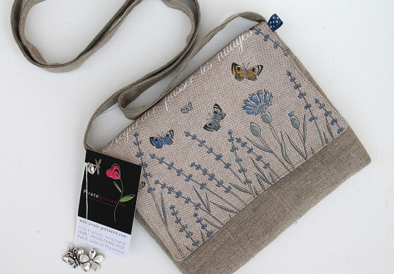Natural linen shoulder bag illustrated lavender and butterflies