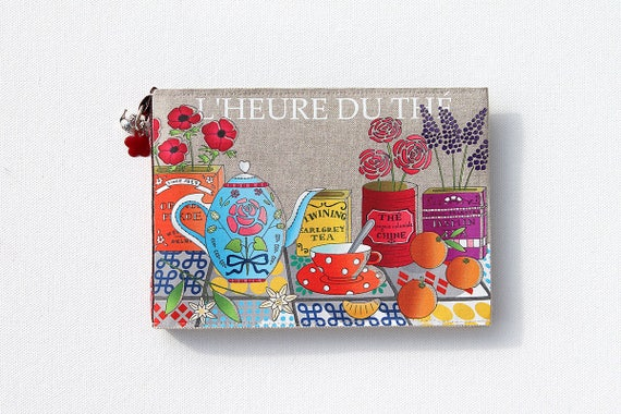 """Photo album natural linen with illustrated """"Tea time"""""""