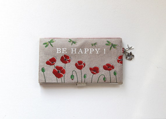 "checkbook holder in linen "" Be Happy ! """