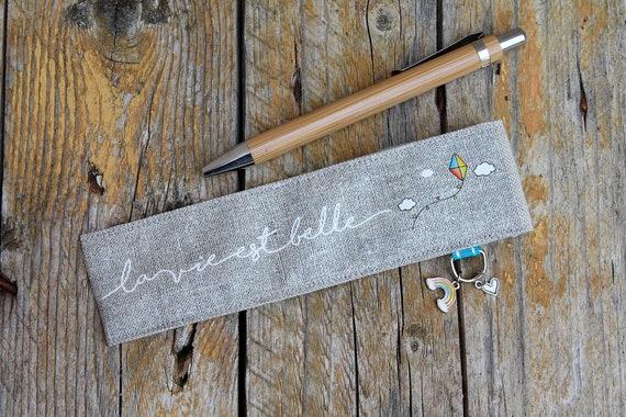 "Linen pen case ""life is beautiful"""