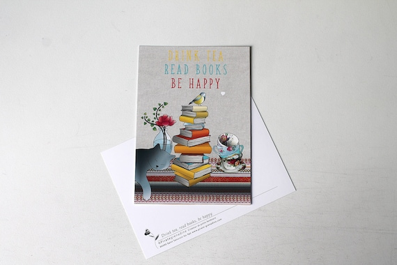 "Illustrated postcard ""drink tea, read books and be happy"" by Pirate grenadine"