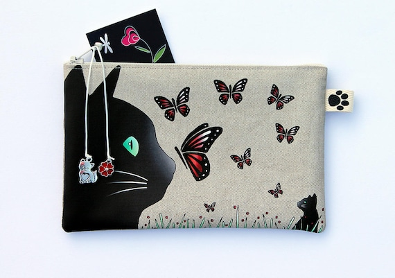 "Pencil case in natural linen ""Cat and butterflies"""