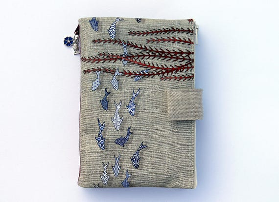 "Bag organizer / Multipockets in natural linen illustrated ""Small fish azulejos"""