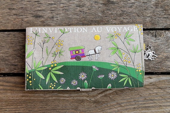 "Checkbook holder in natural linen "" L'invitation au voyage """