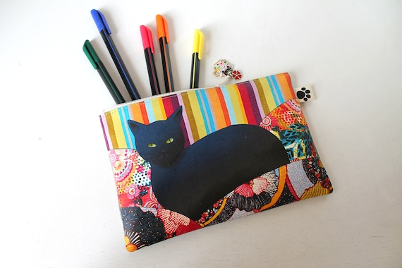 "Natural linen pencil kit with original illustration ""Black multicolored cat"""