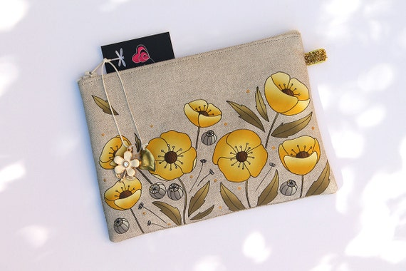 """Yellow and gold poppies"" featuring natural linen pouch"