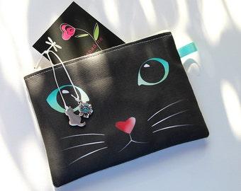 Illustrated natural linen 'black cat' wallet